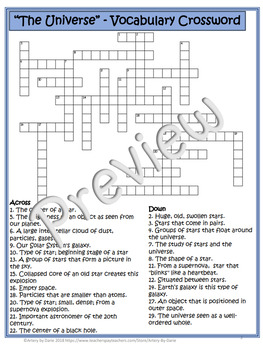 Earth Science ~The Universe~ Crossword Puzzle - Special Ed/Resource