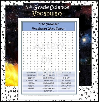 Earth Science ~The Universe~ Worksheet/ Word Search Puzzle - Special Ed/Resource