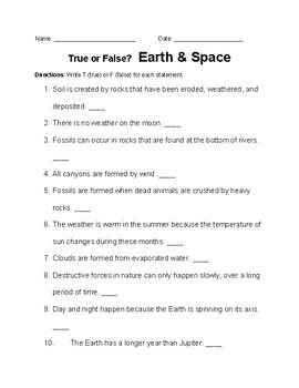 Earth Science True or False
