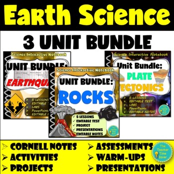 Earth Science Unit Bundle: Rocks and Minerals, Plate Tectonics, and Earthquakes