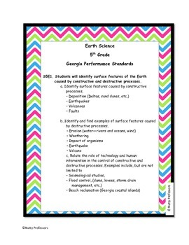 Earth Science Unit Study Guide and Assessment