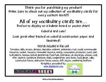 Vocabulary Cards-Earth Science (Weathering, Renewable Energy, Rocks/Minerals)