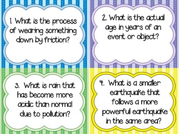 Earth Science Vocabulary Review Question Cards Year Round & Test Prep