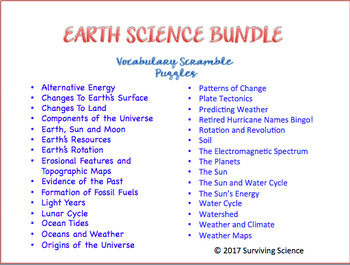 Earth Science Vocabulary Scramble BIG Bundle- 30 Puzzles!