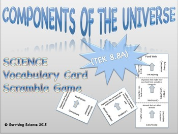 Earth Science Vocabulary Scramble : COMPONENTS OF THE UNIV