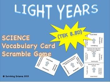 Earth Science Vocabulary Scramble : LIGHT YEARS (TX TEKS 8.8D)