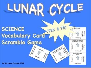 Earth Science Vocabulary Scramble : LUNAR CYCLE (TX TEKS 8.7B)