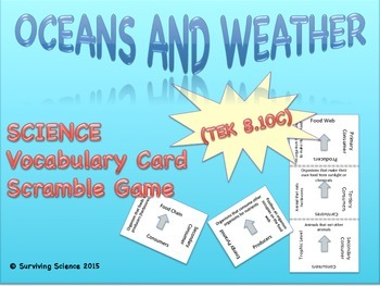 Earth Science Vocabulary Scramble : OCEANS AND WEATHER (TX TEKS 8.10C)