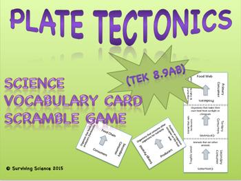 Earth Science Vocabulary Scramble : PLATE TECTONICS THEORY (TX TEKS 8.9AB)