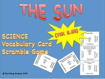 Earth Science Vocabulary Scramble : THE SUN (TX TEKS 8.8B)