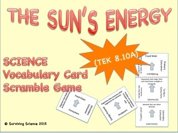 Earth Science Vocabulary Scramble :  THE SUN'S ENERGY (TX