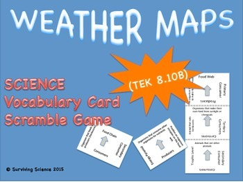 Earth Science Vocabulary Scramble :  WEATHER MAPS (TX TEKS 8.10B)