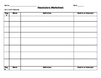 Earth Science Vocabulary Template