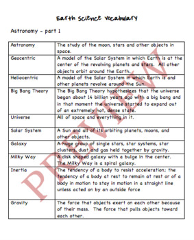 Earth Science Vocabulary words and definitions for the ...