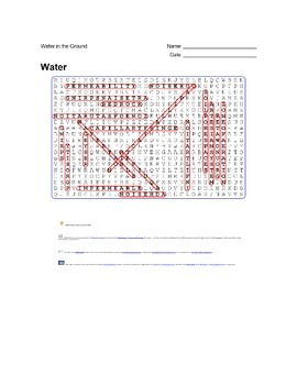 Earth Science - Water - Water in the Ground - Wordsearch Puzzle