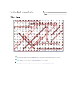 Earth Science - Weather - Prediction - Climate Affects on Weather - Wordsearch