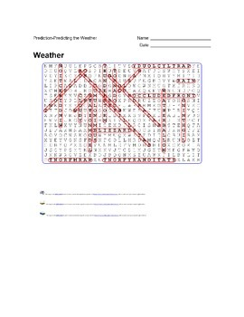 Earth Science - Weather - Prediction- Predicting the Weather - Wordsearch Puzzle