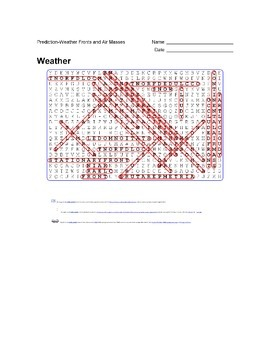 Earth Science - Weather - Prediction - Weather Fronts and Air Masses- Wordsearch