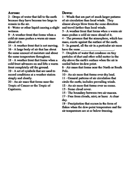 Earth Science - Weather - Weather Fronts and Air Masses - Crossword Puzzle