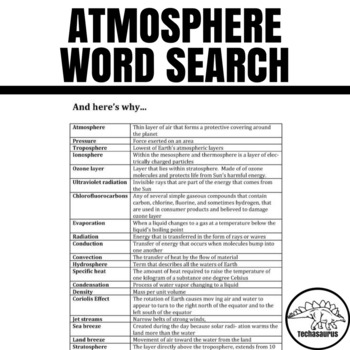 Earth Science Word Search - Atmosphere
