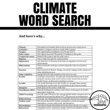 Earth Science Word Search - Climate