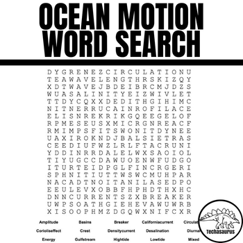 Earth Science Word Search - Ocean Motion