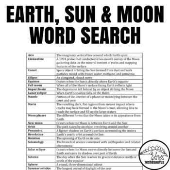 Earth Science Word Search - Earth, Sun and Moon