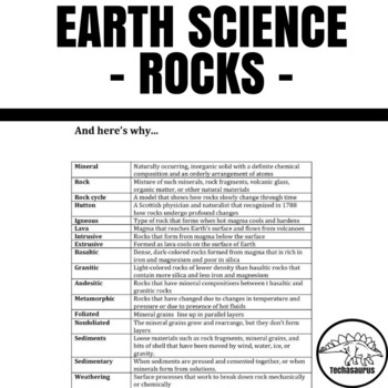 Earth Science Word Search - Rocks