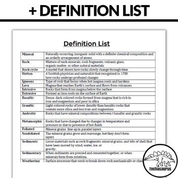 Earth Science Rocks Word Search