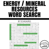 Earth Science Word Search - Energy Mineral Resources