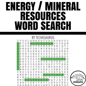 Earth Science Word Search - Energy/Mineral Resources