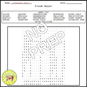 Fresh Water Word Search