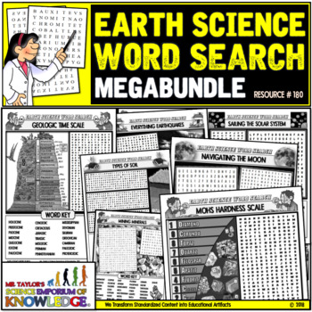 Earth Science Word Search Puzzle Activities