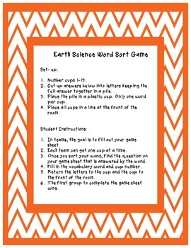 Earth Science Word Sort Review Game