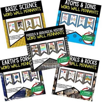 Earth Science Word Wall 411 Pennants (Earth Science Bundle)