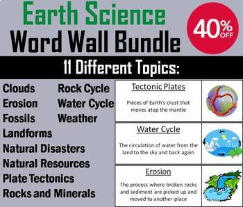 Earth Science Word Wall Bundle: Weather, Erosion, Clouds, Rock Cycle, etc.