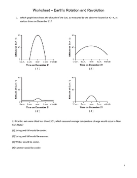 High School Earth Science Worksheet - Planetary Motion