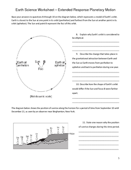 High School Earth Science Worksheet - Rotation and Revolution | TpT