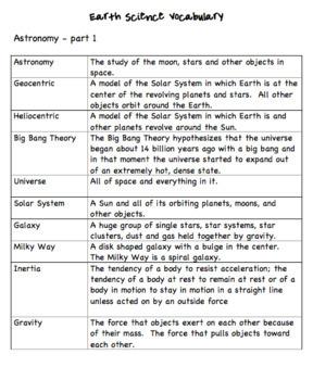 Earth Science Year Long Basics