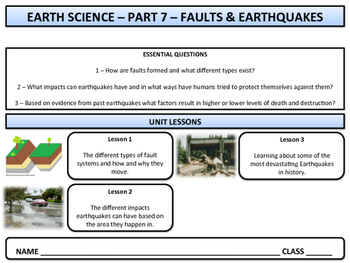 Faults and Earthquakes - Earth Science and Geography - Unit 7