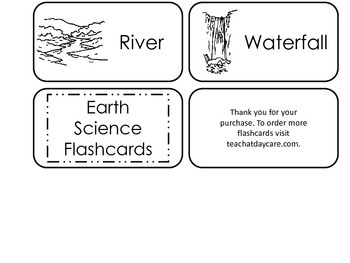Earth Science printable Picture Word Flash Cards. Preschool flashcards.