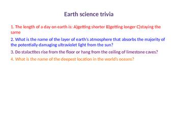 Earth Science trivia warmup
