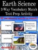 Earth Science with Landforms Three Way (3- Way)  Vocabulary Match Test Prep Game
