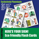 Earth Day Signs Eco Friendly Set 16 FLASH CARDS Fun Cartoo
