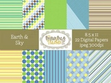 Earth & Sky: 22 Digital Papers for Commercial Use