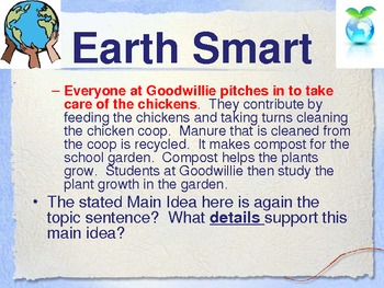 Earth Smart - Treasures Reading-Unit 1 - Main Idea and Details