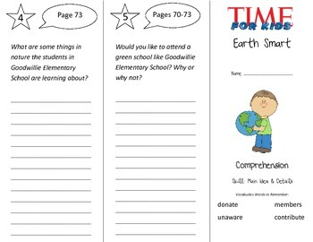 Earth Smart Trifold - Treasures 3rd Grade Unit 1 Week 2