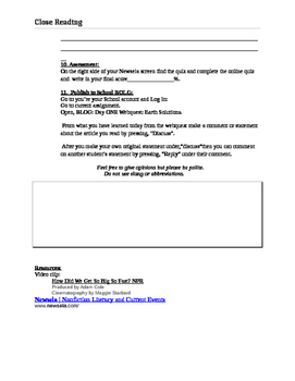 Earth Solutions Common CORE Close Reading :Web Quest Day One