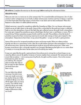 Earth Space - Climate Change - STEM Worksheet
