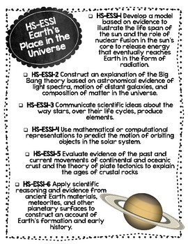Earth & Space NGSS Checklist for High School
